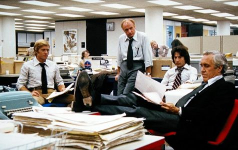 The Newsroom in Alan J. Pakula's <i>All the President's Men</i>. WARNER BROS.