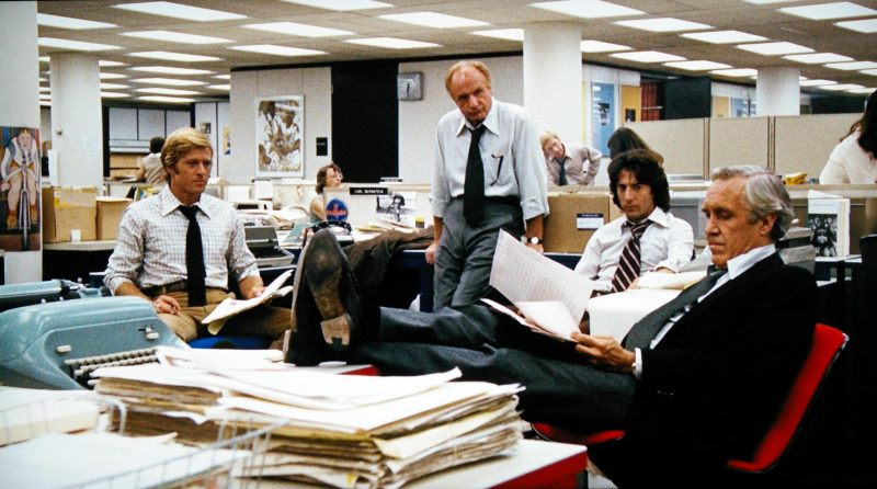 The Newsroom in Alan J. Pakulas All the Presidents Men. WARNER BROS.