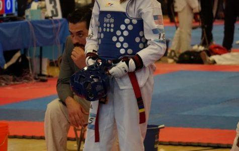 Sophia Venetis prepares for a Taekwondo bout