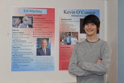 Zach Crampton 22 poses next to posters prepared by his grade for the mock election. Photo courtesy of Mrs. Amy Galvam.
