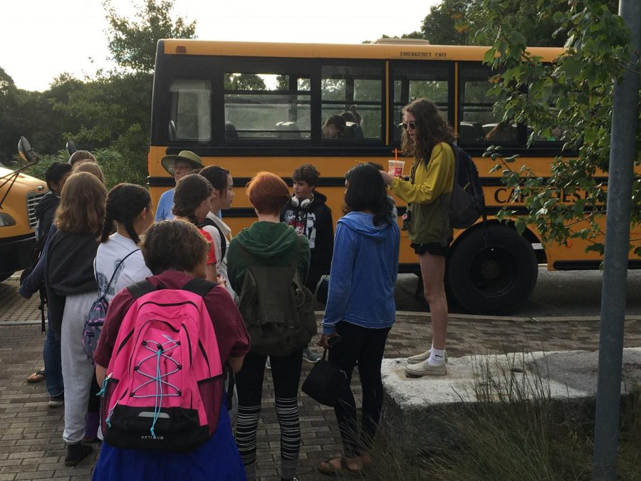Early one morning, students board buses for Marconi Beach Day